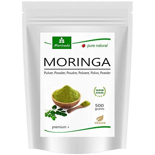 Moringa Blattpulver 500g Oleifera Premium Plus, vegane Qualität von MoriVeda (1x500g Pulver)