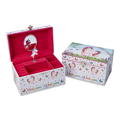 Joyero infantil musical con unicornio mágico de Lucy Locket - Caja musical rosa brillante para niños con soporte para anillos