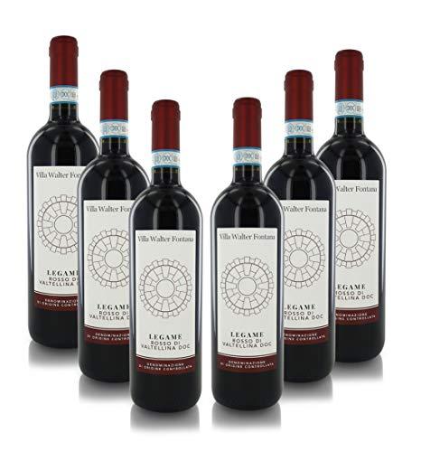 Villa Walter Fontana Vino Rosso ''Legame'', Rosso di Valtellina Doc, Annata 2019, Cartone con 6 Bottiglie da 75 Cl L'Una