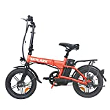 TrekPower Folding Electric Bike 250W Lightweight Aluminum Elecctric Bicycle 16' 36V10A Lithium Battery Ebike with Pedals,Power Assist, 20 Miles Range E-Bike with Dual Disc Brake (RED)
