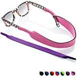 Glasses and Sunglasses Active Strap - 2 Pack   Anti-Slip and Fast Drying Sport Glasses Strap   Purple + Pink
