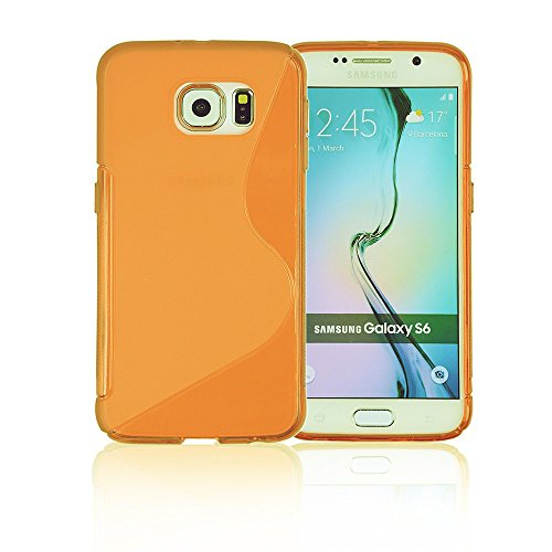 Galaxy S6 Case, Galaxy s6 Cases | Compatible- Samsung Galaxy s6 SIV S IV i9600 - Custom Pretty Wallet Thin Soft Gel Shell Cover Skin Phone Case by Cable and Case | Not Edge Compatible - Clear Orange