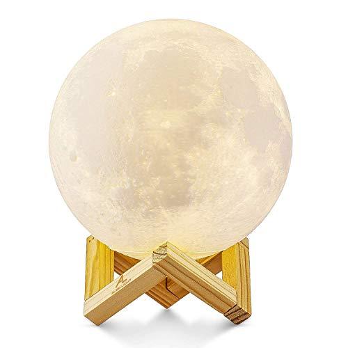 Lampada Luna 3D Stampata, ALED LIGHT Piena Lampada Moon Luna con Diametro 15cm, 3 Colori, Ricarica...