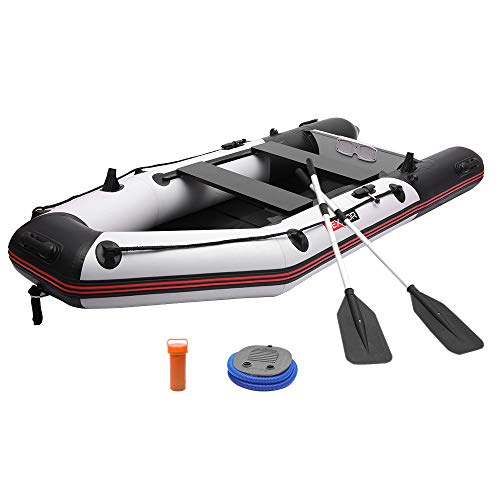 PEXMOR 10ft Inflatable Dinghy Boat 0.9mm PVC Sport Tender Fishing Raft Dinghy with Trolling Motor Transom, Full Floor and Fishing Rod Holders (Black Grey)