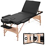 MaxKare Portable Massage Table Adjustable Lash Bed Three-Fold Massage Bed 84'' Facial Professional SPA Bed with Carrying Bag & Accessories(Black)