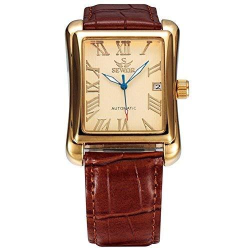SEWOR Uomo Scheletro Automatico Orologio Con Calendario Famous Brand Pelle Marrone Cinturini orologi Rettangolare quadrante
