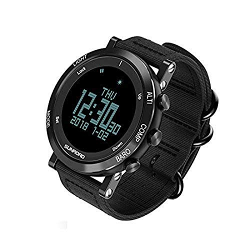 SUNROAD Men's Smart Digital Barometer Compass Altimeter Sports Watch with LED Screen Large Face Altimeter Watches & Waterproof Casual Luminous Stopwatch Pedometer Wristwatch (Black)