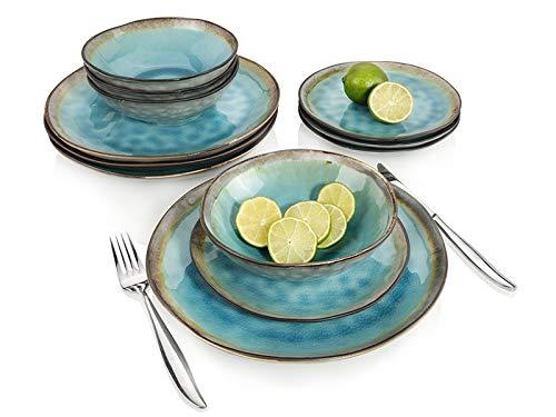 Sänger Dinner Service Capri aus Porzellan 12 teilig für 4 Personen | Füllmenge der Schalen 700 ml | Tellerset im Vintage-Stil Blau, Geschirrset, Porzellanservice