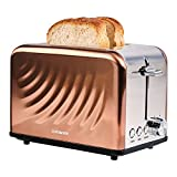 Cotomier Toaster 2 Slice, Rose Gold Stainless Steel Toaster with Defrost Bagel Cancel Function & 6 Shade Settings
