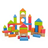 Bimi Boo Wooden Building Blocks for Toddlers and Preschoolers - Colored Wood Construction Set for...