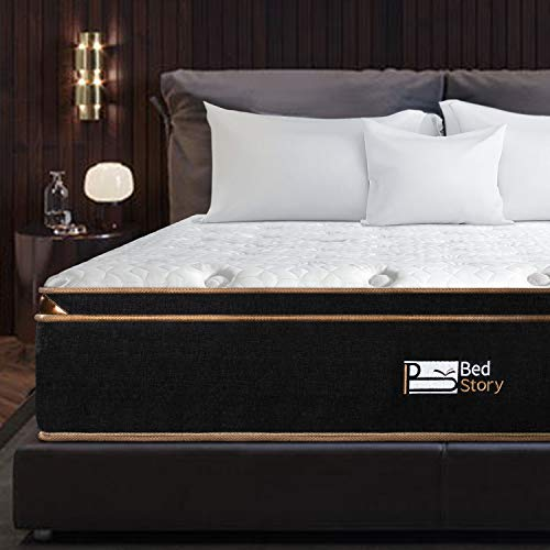 BedStory 12 Inch King Mattress, Luxury Hybrid Mattresses with Individually Encased Spring Coils & Cooling Gel Memory Foam, Euro Top Bed in A Box - Medium Firm Support