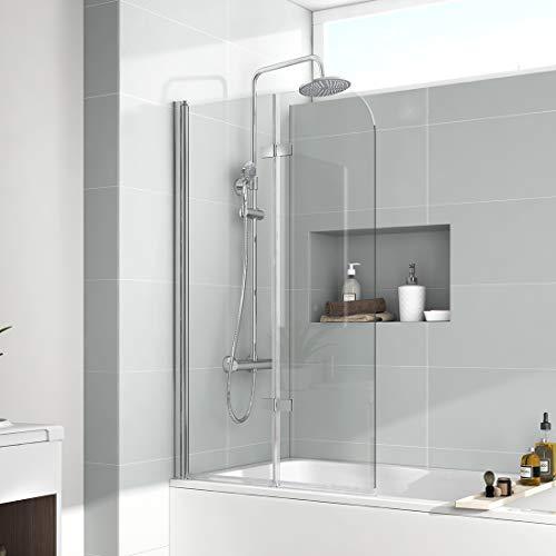 EMKE 110x140cm Faltwand für Badewanne Duschabtrennung Badewannenaufsatz Faltwand Duschtrennwand NANO-GLAS