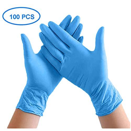 MECO ELEVERDE 100 Pezzi Guanti Protettivi Nitrile Monouso Guanti Morbida Senza Polvere Senza Lattice Guanti Protezione per Antibatterica Ambientale Alimentare Cucina Esami Industriale Blu (S)