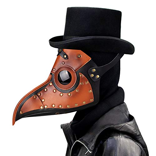 Leshi Shop Plague Doctor Mask, Steampunk Bird Leather Beak Mask With Long Nose Cosplay Props (Brown) (Misc.)