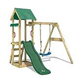 WICKEY Aire de jeux Portique bois TinyWave avec balançoire et toboggan vert, Maison enfant exterieur avec bac à sable, échelle d'escalade & accessoires de jeux