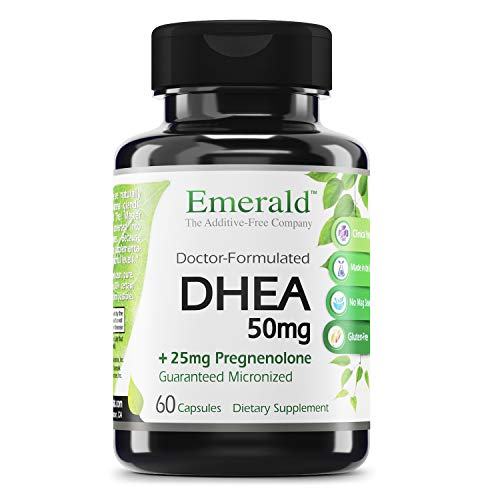 Emerald Labs DHEA 50mg with 25mg Pregnenolone to Help Balance Hormone Levels for Men and Women, Cognitive Function Support, Increase Metabolism, Lean Body Mass - 60 Capsules