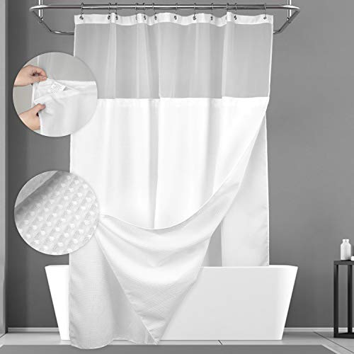 Waffle Weave Shower Curtain with Snap-in Fabric Liner Set, 12 Hooks...