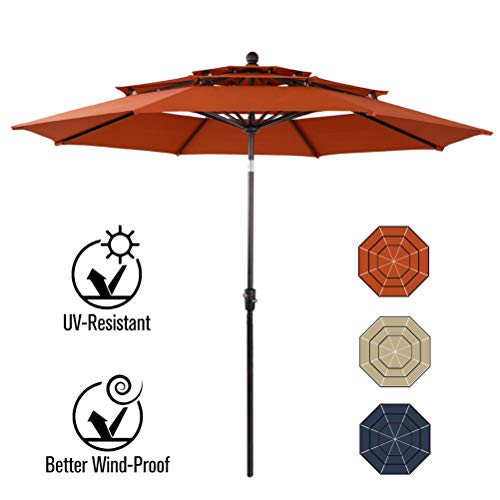 PHI VILLA 10ft Patio Umbrella Outdoor 3 Tier Vented Table Umbrella with 8 Sturdy Ribs (Orange Red)