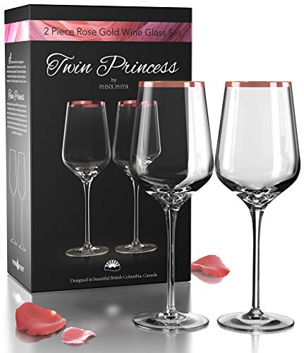 Hand Blown Crystal Rose Gold Wine Glasses set 2 -...
