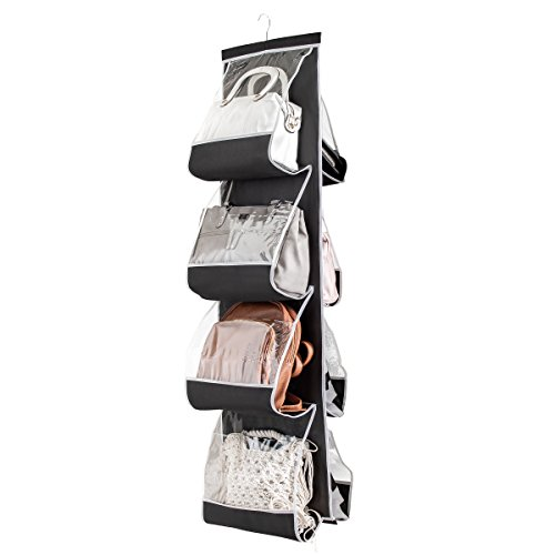 This hanging handbag closet organizer saves closet shelf space, while neatly storing purses, small blankets, sheets, towels, and other linens. 8 generously sized slots—4 in the front and 4 in the back of the purse organizer storage system—allow for plenty of handbag storage and purse organization. This closet handbag organizer purse holder features clear plastic slots that allow for easy identification of contents.