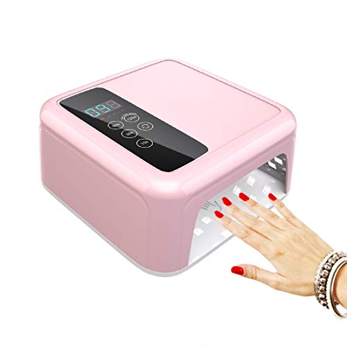 72W Cordless Nail Lamp with Touch Screen, Rechargeable UV LED Nail Lamp for Gel Polish, Portable Professional Nail Dryer with Timer Salon Art Machine(Built-in Battery Pink)