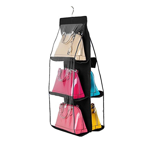 41kGqoIjNNL Made of non-woven fabric and transparent PVC with 6 compartments. A perfect purse storage solution and displays your purses nicely. Moderate product size, 12.2*11.8*35.43inch, and the purses clutches fit perfectly.
