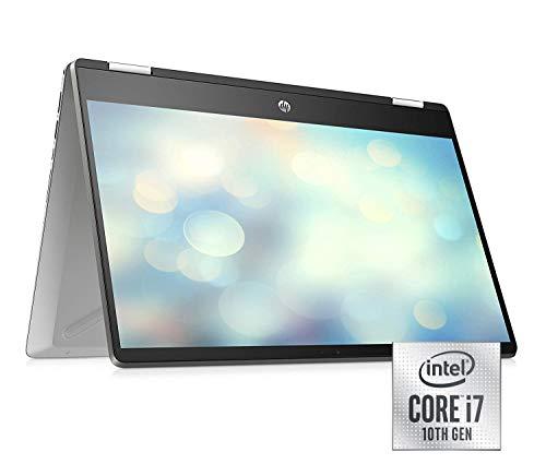 HP Pavilion x360 14-dh1003ng (14 Zoll / FHD Touch) Notebook (Intel Core i7-10510U, 16GB DDR4 RAM, 32GB Intel Optane, 512GB SSD, Nvidia GeForce MX250 2GB GDDR5, Windows 10) Fingerabdruckleser, silber