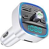 Cocoda Bluetooth FM Transmitter für Auto, Blaue Umgebende Leuchte Drahtloser Radio Kfz-Empfänger Adapter mit Freisprecheinrichtung, Dual USB Ladegerät für GPS-Geräte, Handys, SD-Karte, USB-Disk
