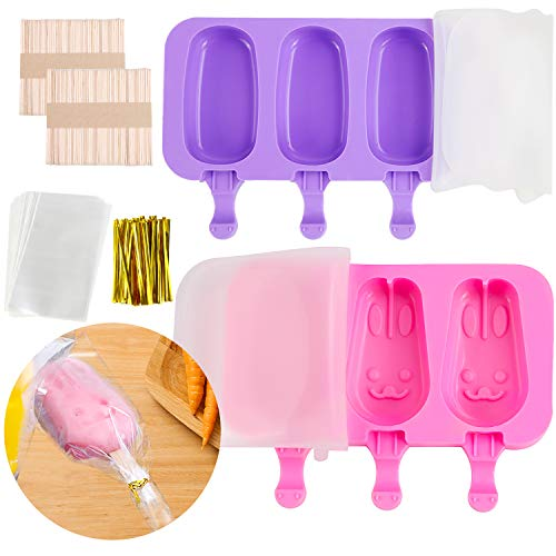 2 Pack Silicone Popsicle Molds with Lid 3 Cavities Homemade Ice Pop Molds with 100 Wooden Sticks 100 Transparent Packaging Bag 100 Gold Metallic Twist Ties for Diy Ice Popsicle Ice Cream Bar Mold