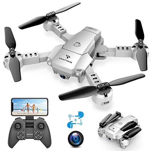 SNAPTAIN A10 720P Mini Drone con Telecamera HD Pieghevole FPV Controllo Vocale, Controllo Gesti, Volo Traiettoria, Volo Circolare, Rotazione ad Alta velocit, 3D Filp, Sensore G, modalit Senza Testa