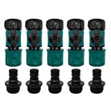 "Plastic Garden Hose Quick Connect with Shutoff Valve Set Male and Female, 3/4"" Quick Connectors with Valve for Water Hose Coupling, Quick Release Kit Hose Fittings and Adapters (5 Sets/ 10 Pc)"