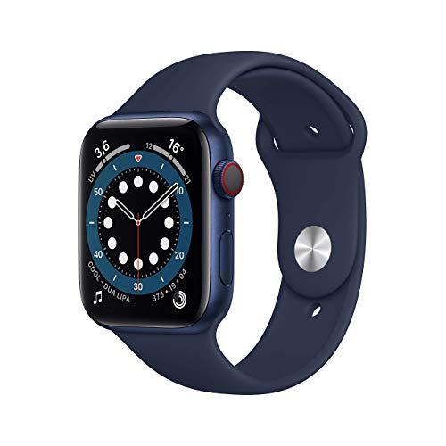 AppleWatch Series6 (GPS+Cellular, 44mm) Cassa in alluminio azzurro con Cinturino Sport deep navy