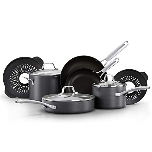 Calphalon Classic Pots and Pans Set, 10 Piece Cookware Set with No Boil-Over Inserts, Nonstick