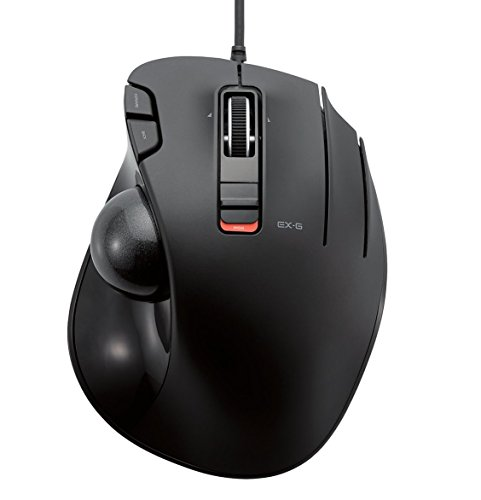 Elecom Wired Trackball Mouse Thumb Operated Model, Ergonomic Grip, Tilt Function, 6 Buttons, Black/M-XT3URBK