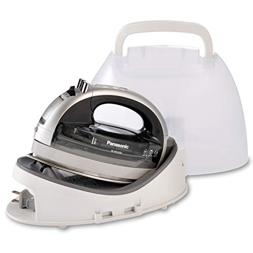 Panasonic NI-WL600 Cordless, Portable 1500W Contoured Multi-Directional Steam/Dry Iron, Stainless Steel Soleplate, Power Base and Carrying/Storage Case, White/Black