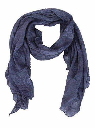 Zwillingsherz Seiden-Tuch für Damen Mädchen Paisley Elegantes Accessoire/Baumwolle/Seiden-Schal/Halstuch/Schulter-Tuch oder Umschlagstuch einsetzbar - navy
