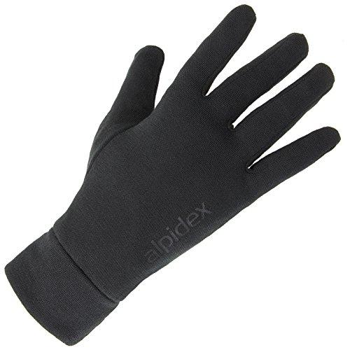 ALPIDEX Unterziehhandschuhe Innenhandschuhe Shaven Sheep leichte Laufhandschuhe dünne warme Liner innen aufgeraut Stretchmaterial athletischer Schnitt, Größe:M, Farbe:Black