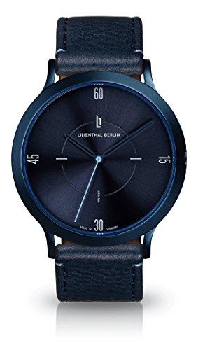 Lilienthal Berlin Urbania Unisex Armbanduhr (Gehäuse: blau/Zifferblatt: blau/Armband: Leder blau)