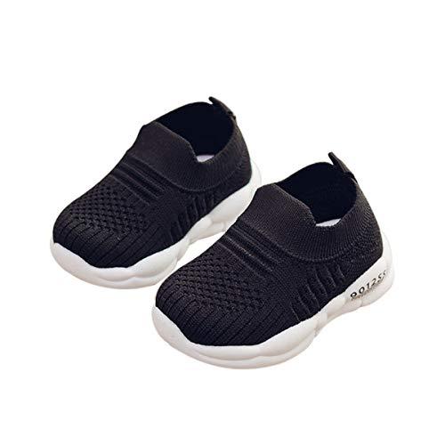 DEBAIJIA Zapatos para Niños 3-18M Bebé Caminan Zapatillas Cordones Transpirables Malla Ligera TPR-Materiale 18/19 EU Negro (Tamaño Etiqueta 18)