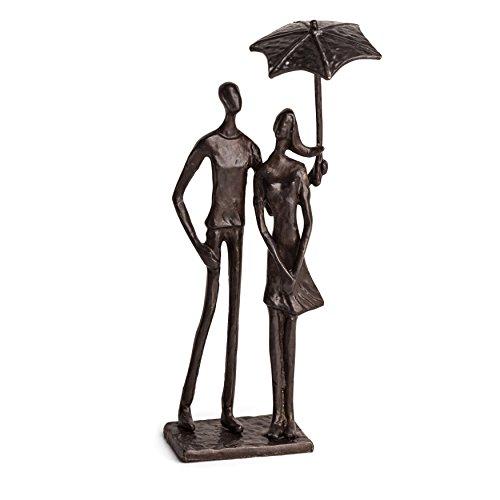 Danya B Loving Couple Under Umbrella Bronze Sculpture - Modern and Elegant Design – Metal Art - Contemporary Home and Office Décor – Modern Tabletop Décor