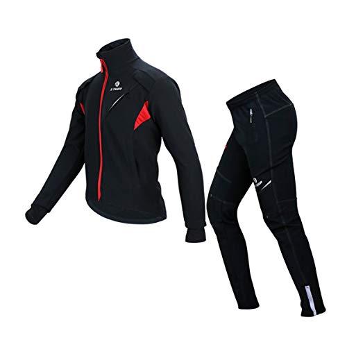 X-TIGER Giacca da Ciclismo Sci Uomo Completo Abbigliamento Set Inverno Termico Vello Maniche Lunghe Ciclismo Giacca...