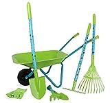Small Foot 12014 Grand Set de Jardin avec brouette en Bois et métal 7 pièces Multicolore