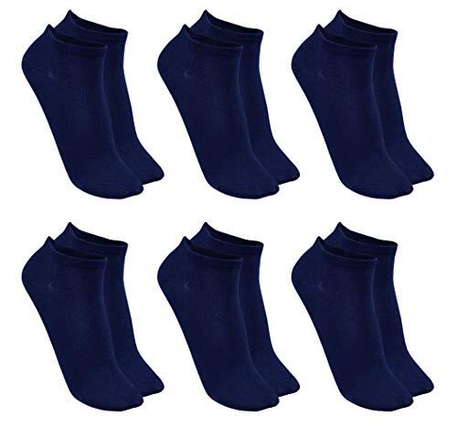 1stAmerican Calzini Donna Cotone Corti Sportivi - Fantasmini alla Caviglia, Calze 95% Cotone, Colore Blu, Taglia Unica 35-40, 6 Paia