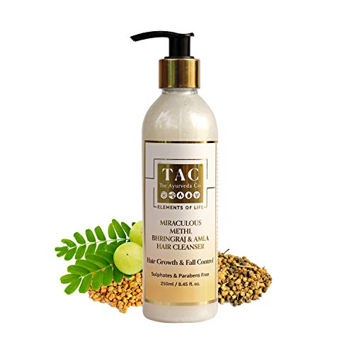 TAC - The Ayurveda Co. Bhringraj Amla Hair Shampoo Cleanser For Men And Women With Miraculous Ayurvedic Methi Formulation For Shiny And Strong Hair- Parabens And Sulphates Free - 250ml
