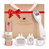 ZUSTBEAUTY | Derma Roller Kit for Face, Body, Stomach, Lip | 0.3MM Titanium Microneedle Roller Heads: 180 for Near Eyes, 600 for Face & 1200 for Body | With Vitamin C Serum & Collagen Cream | Free Set