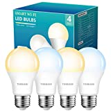 Smart Light Bulbs Work with Alexa and Google Home -No Hub Required, WiFi LED Bulb 2700K Warm White to 6500K Daylight Dimmable, 7W(60W Equivalent), APP Remote Control, 2.4Ghz Only, 4 Pack, by Torkase