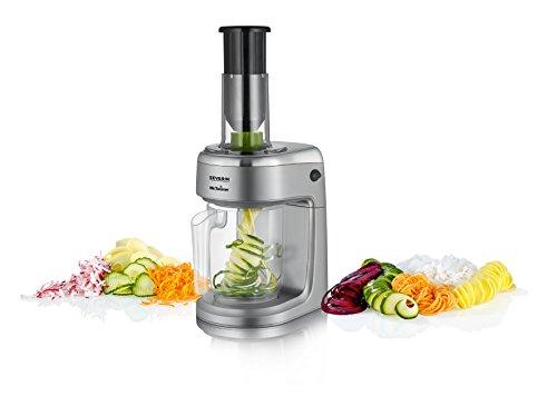 SEVERIN KM 3923 Elektrischer Spiral- und Gemüseschneider (80 W, 5 Messer-Einsätze) grau metallic/schwarz