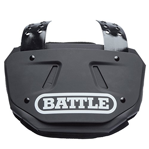 Battle Back Bone Back Plate  Rear Protector Lower Back Pads for Football Players  Backplate Shield with High Impact Foam Backing - Available in Youth and Adult Sizes, Black/White