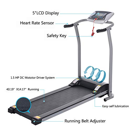 OppsDecor Folding Electric Treadmill for Home Running Machine Fitness Exercise Machine Power Motorized with Pulse Grip and Safety Key (Silver) 5