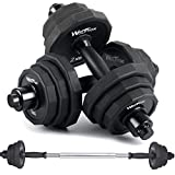 KISS GOLD wolfyok 44Lbs Dumbbells Set, Adjustable Weights Solid Steel Dumbbells Pair for Adults Home Fitness Equipment Gym Workout Strength Training with Connecting Rod Used as Barbell
